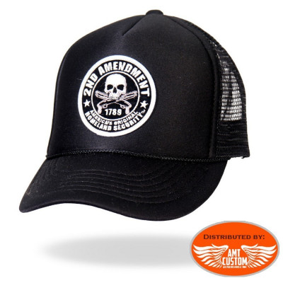 casquette trucker harley moto skull tête de mort 2nd amendment patriot moto custom trike motard biker