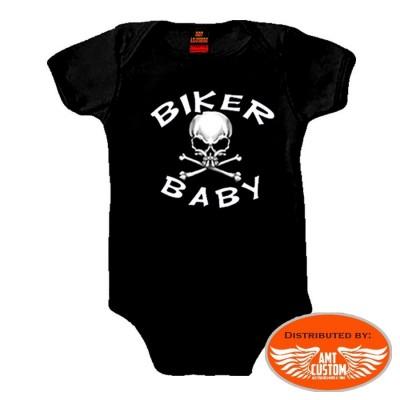 body bébé biker noir tête de mort moto custom motard trike harley