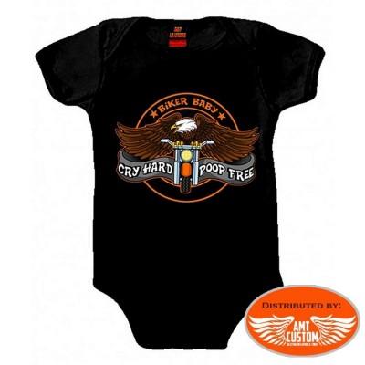 body bébé biker noir aigle moto custom motard trike harley