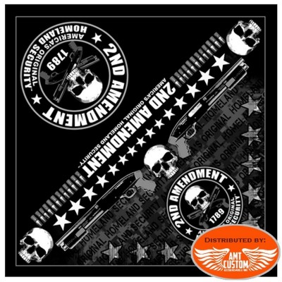 Bandana Foulard Biker Skull 2nd Amendment.
