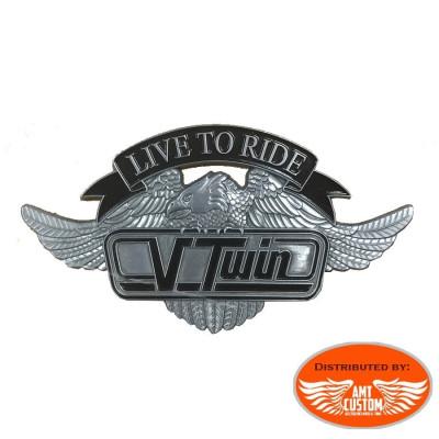 Emblème adhésif Aigle VTwin métal moto