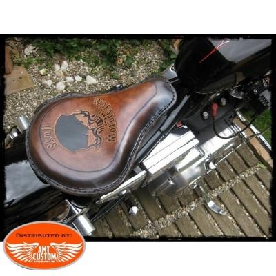 Brown Solo Seat Skull Custom Choppers Bobbers Harley