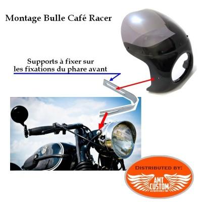 Installation Bulle capotage phare pour Café Racer Oldskool pare-brise court saute vent
