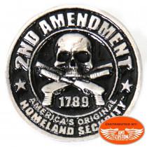 PNA1197 Pin's tête de mort Skull 2nd amendment épinglette moto custom trike harley motard biker