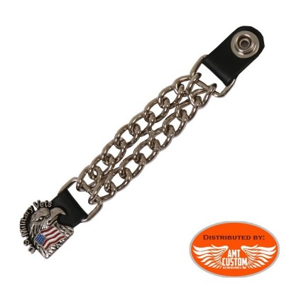 Eagle head US Military Vets Chain extension for biker vest jacket