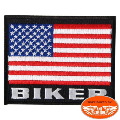 Ecusson Patch Drapeau USA Biker.