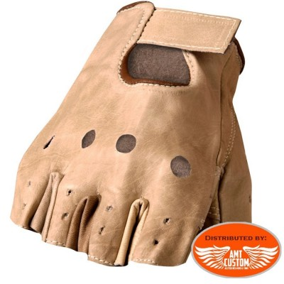Gants Mitaines cuir Marron uni Biker