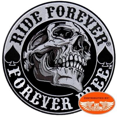 PPA8210 Patch tête de mort Skull Biker Ride Forever thermocollant ecusson moto custom blouson gilet harley biker motard