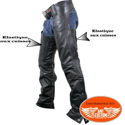 Pair of confort leather motorcycle chaps Hells-Design