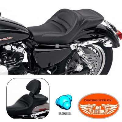Sporster Duo Seat Gel Core confort  XL 883 and 1200 for Harley Davidson - Option Driver Backrest