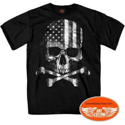 Skull Bones flag US biker tee-shirt american flag