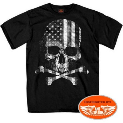 T-shirt Biker Skull Bones Flag US drapeau americain tete de mort squelette