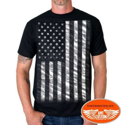 US Flag T-shirt Biker  black and white moto custom chopper