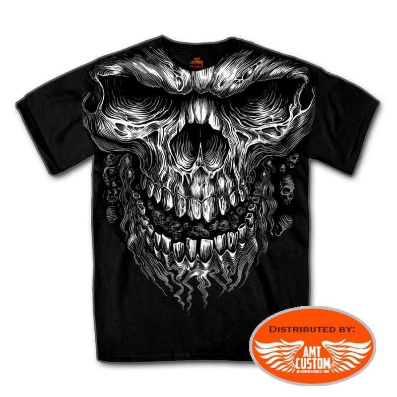 T-shirt Biker Skull Flaming tête de mort enflammé pour biker triker chopper harley