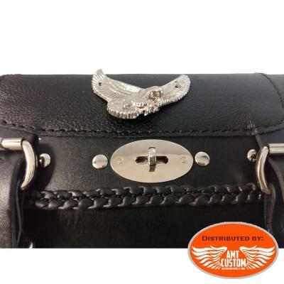 Sacoche outils verrouillable cuir Aigle - fourche moto details cadenas moto
