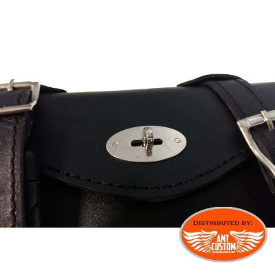 Triangular bag custom leather motorcycle for Harley Davidson Sportster front view details