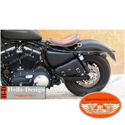 Triangular Frame bag custom leather motorcycle for Harley Davidson Sportster