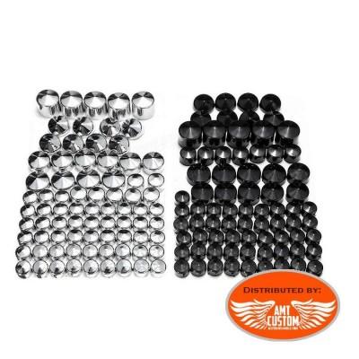 Lot de 76 caches écrous obus noir ou chrome pour Dyna vue d'ensemble pour harley moto chopper
