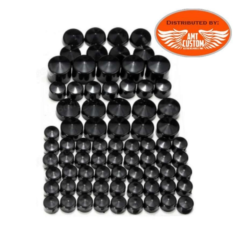 Lot de 76 caches écrous obus noir ou chrome pour Dyna vue d'ensemble pour harley moto chopper noir