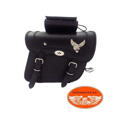 Pair of saddlebags Eagle Riders universal leather.