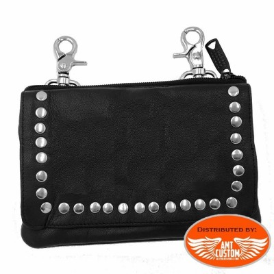 Studded leather bag lady rider biker women bag custom chopper