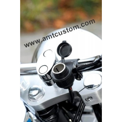Cigarette lighter 12V motorcycle handlebars.