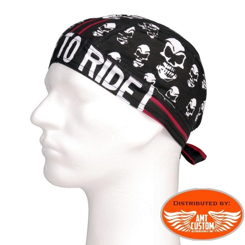 Zandana skull live to ride moto custom