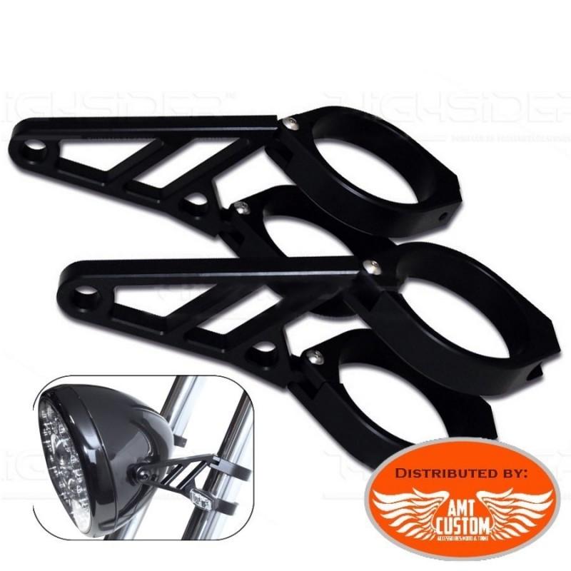 Supports phare Noir pour fourches ou tubes de 35 à 54mm en aluminium pour Choppers, Bobbers