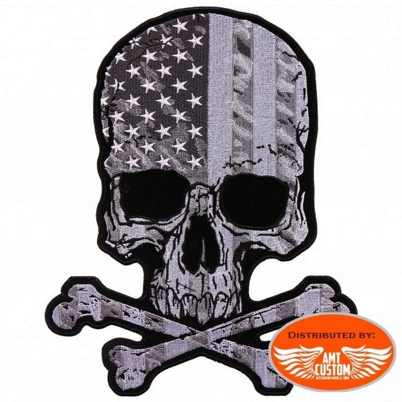 PPA9450 patch skull tete de mort drapeau usa thermocollant ecusson moto custom blouson gilet harley biker motard