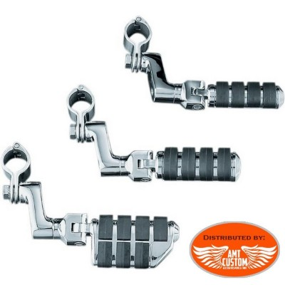 2 Universal Footpegs chrome for front engine bar