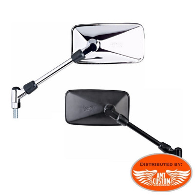 Rectangle Chrome or Black mirros Moto & Custom