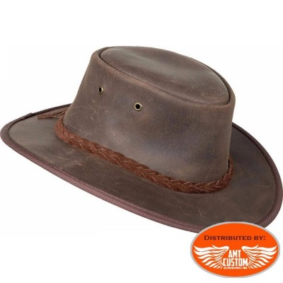 chapeau en cuir marrron barmah hats country cowboy biker moto custom harley leather