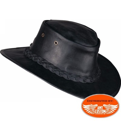 Barmah Hats Black leather hat.