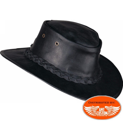Leather black Barmah Hats