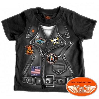 tshirt bébé biker noir blouson perfecto moto custom motard trike harley