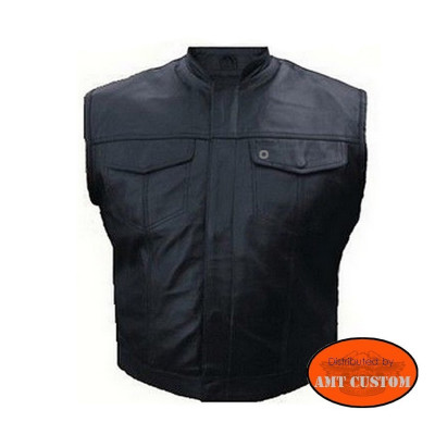"""Veste Gilet Cuir Biker Type """"Sons Of Anarchy"""" - Poches Poitrines"""