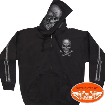 Sweatshirts hooded Jacket Biker Skull Bones.