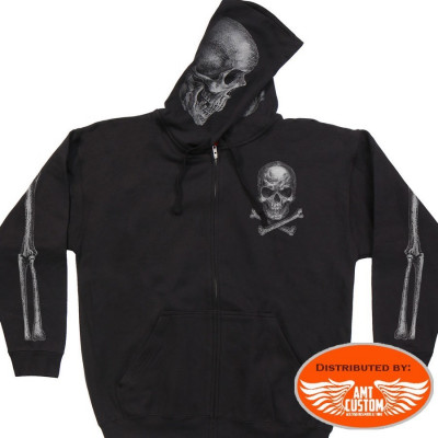 Hooded Sweat Jacket Biker Skull Bones.