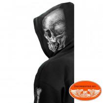 Veste capuche sweat Biker Tête de mort Bones.