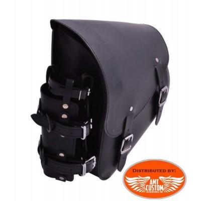 Softail Sacoche cadre Jerrican cuir - pour Harley Softail, Suzuki et Yamaha