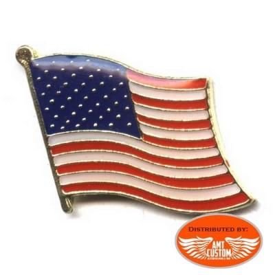 USA flag pin's biker jacket vest