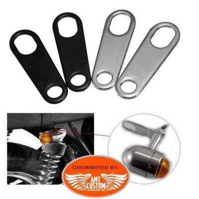 Kit déport clignotants Noir ou Chrome moto custom
