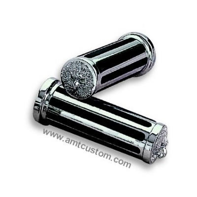 2 Universal Chrome Eagle grips motorcycle harley custom biker