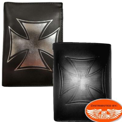 Portefeuille Biker cuir Croix de Malte Format Europe