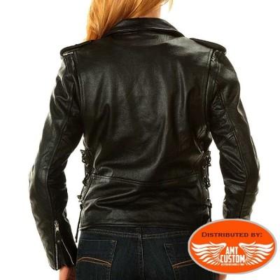 Blouson Biker Femme Cuir uni Hells-Design
