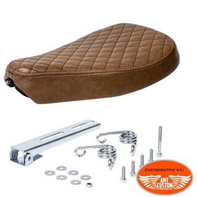 Solo Seat Brown Diamond with mounting hardware Custom Bobbers Choppers