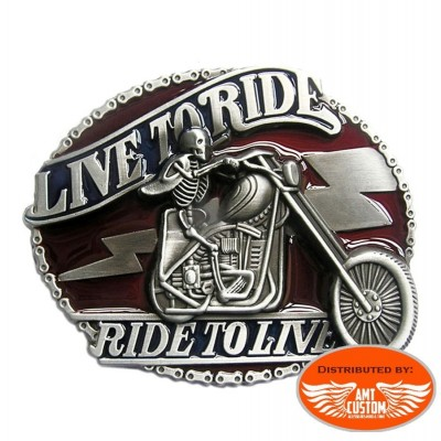 Buckle Bikers Skull Motard Live to Ride