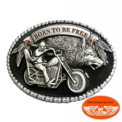 "Buckle Bikers Motard and Wolf ""Born to be Free"""
