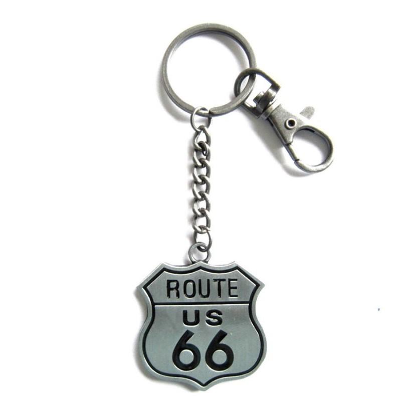 Porte-clés Biker Route 66 Argent ou Bronze.