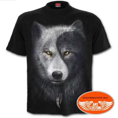 Biker T-shirt dream catcher and wolf